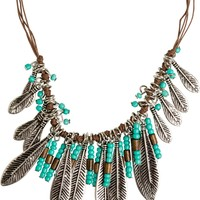 SIMPLY NOVA NUKU BEADED AND FEATHER NECKLACE