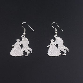 New Beauty and the Beast Figure earrings Fashion Women Bright Silver pendant jewelry