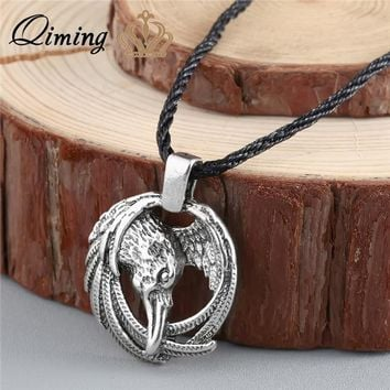 QIMING Norse Raven Necklace Box -Odin Viking pendant Crow Runes Thor Hammer Mjolnir Talisman Vintage Eagle Men Necklace Women