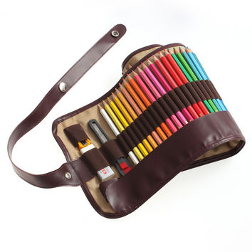 Canvas Pencils Bag - 48 Slots