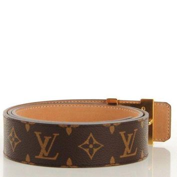 PEAP6 mens louis vuittion initiales monogram belt brown & gold brand new size 40MM