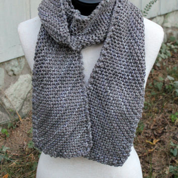 Hand Knit Scarf - diagonal pattern squishy grey mixed with purpley-blue