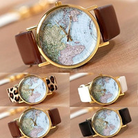 [ Grest Deal] Retro World Map Watch Fashion Leather Alloy Womens Analog Quartz Wrist Watch 08 = 5988085377