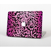 The Hot Pink Cheetah Animal Print Skin Set for the Apple MacBook Air 13""