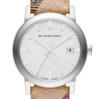 Women's Burberry Large Check Strap Watch, 38mm