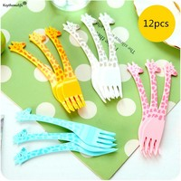 Keythemelife 12pcs/Pack Cartoon Plastic Giraffe Food Fruit Fork Picks Set for Party Wedding Tableware 6D