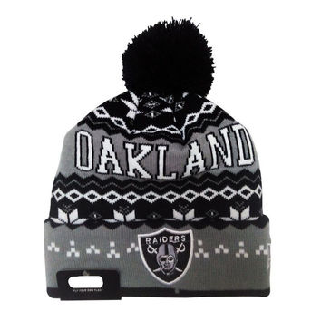Oakland Raiders Pom Beanie Acrylic Adult Unisex Casual Warm Winter Sports Ski Cap Knitted Black & Gray Cuffed Skully Hat