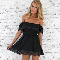 Short Sleeve Off Shoulder Strapless Patchwork Mosaic White Lace Wrap Irregular One Piece Dress