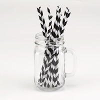 Graduation Party Decorations -- Black Striped Paper Straws | Pear Tree Greetings