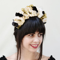 Black and White Frida Flower Crown - Day of the Dead, Floral Headband, Floral Headpiece, Frida Flowers, Head Piece, Mexican, Sugar Skull