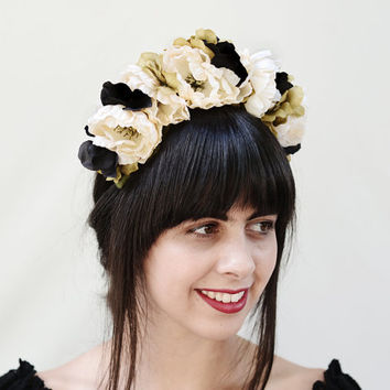 Best black flower headpieces products on wanelo black and white frida flower crown day of the dead floral hea mightylinksfo