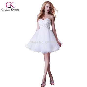 89209fb87f9 White Prom Dresses 2017 Grace Karin Beaded Organza Formal Party