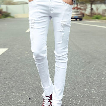 Distressed Zipper Fly Narrow Feet Jeans
