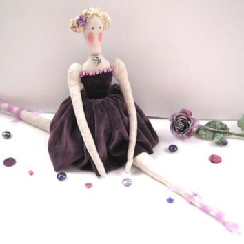 Ballerina doll - gift for girls,Tilda,Doll,Handmade,Gift for birthday,Christmas Gift, Art doll,Shabby chic,home decore,lilac