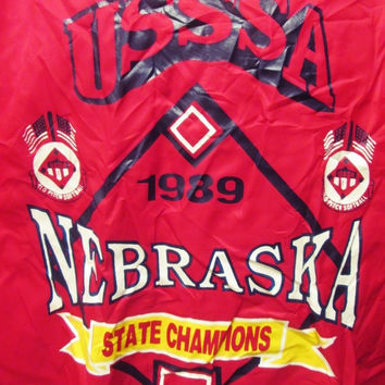 Vintage 1980s 1989 Nebraska Baseball Bomber Harrington Jacket Large