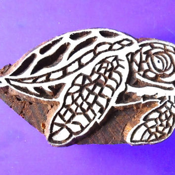Sea Turtle Tortoise Hand Carved Wood Stamp Animal Indian Print Block (AN103))