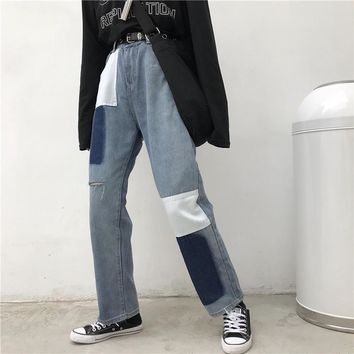 High Waisted Straight Patched Jeans