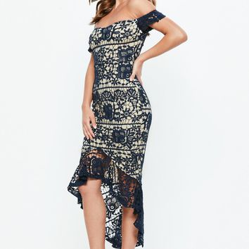 Missguided - Navy Bardot Lace Fishtail Midi Dress
