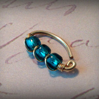 18g Artisan Wire-Wrapped Belly Ring / Teal Seed Bead / 14K Gold Fill or Argentium Sterling Silver