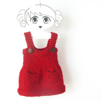 Toddler Girl Dress / Red Hand Knit Dress / Winter Alpaca Sleeveless Dress / 12 - 24 Months / Ready To Ship