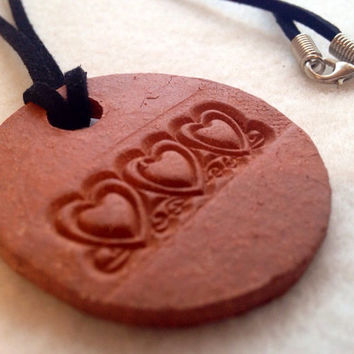 Handmade Three Heart terra-cotta  Ceramic- Aromatherapy / Essential Scented Oil Diffuser Pendant necklace Valentines day hearts