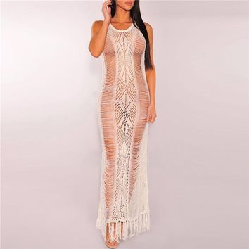 Sexy Women Beach Cover-up Swimsuit 2018 Bikini Cover Ups Summer See Through Knitted Dress Black White Tunic Robe Sarong