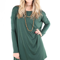 PIKO 1988 Long Sleeve Tunic Dress - Forest Green