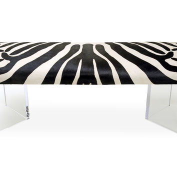 V Zebra Bench, Black/White, Acrylic / Lucite, Entryway Bench, Bedroom Bench