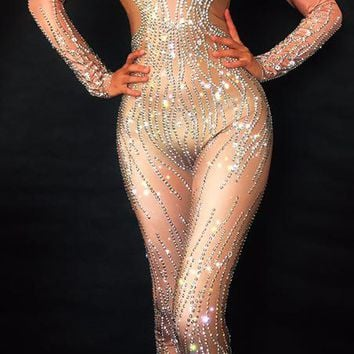 Sparkly Silver Rhinestones Nude Bodysuit Sexy Nightclub Bar Wear Full Crystals Jumpsuit Costume Prom Birthday Celebrate Outfit