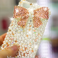 iPhone cover iPhone 4 cover Bow iphone case pearl iphone 4 case iphone 4s bow case crystal iphone case bling iphone 4s case cute bow
