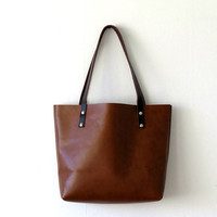 Classic Leather Tote Bag, Brown Leather Shoulder Bag, Handmade Leather Bag, Leather Laptop Bag, Carryall, Gift for her