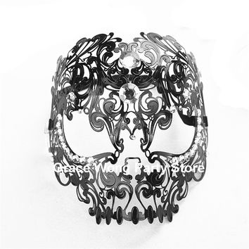 Black/White Venetian Halloween  Skull Mask Goth Renaissance Men Devil Skull  Metal Filigree villain Mask with Rhinestones