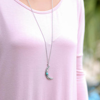 Bohemian Dreams Burnish Silver Crescent Moon Necklace