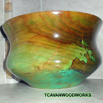 Wood Bowl ,Hand Dyed Marbled Turquoise Green, Reclaimed Wood Lathe Turned Spalted Pecan, Boho Style, Eye Catching Decor, Ecofriendly Wood