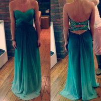 Custom Made Green Ombre Chiffon Prom Dress,Strap Cross Back Sweetheart Prom Dress,Ombre Evening Dress,Ombre Bridesmaid Dress