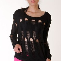 BLACK RIPPED KNIT TOP @ KiwiLook fashion