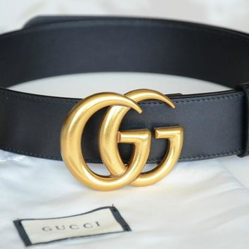 One-nice™ Authentic Gucci Unisex black leather belt with GOLD Buckle 100cm