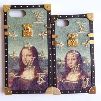LV Hot Sale!Trending iPhone X iPhone 8 iPhone 7 iPhone 7 plus - Stylish Cute Mona Lisa Embroidery Pattern Print On Sale Hot Deal Matte Couple Phone Case For iphone 6 6s 6plus 6s plus I-AL-BSYHD-1