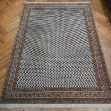 Mir Rug 8 x 11 Ivory All-Over Persian Design New Indian Wool Handmade Rug