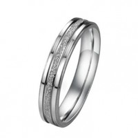 JewelryWe Silver Frosted Surface Central Grooves Stainless Steel Promise Women Ring 4mm (Size 7)
