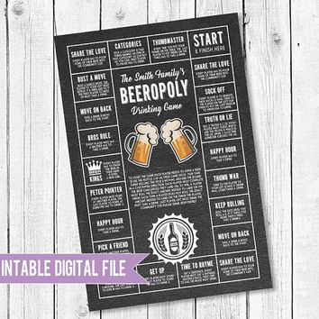 Beer game, Gifts for him, Beer Decor, Gifts for dad, drinking game printable, Beeropoly, beer printable, personalized beer game, Man Cave,