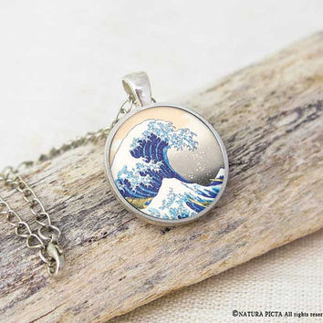 Kanagawa necklace-The great wave necklace-jewelry for him-gift for him-holiday gift-Hokusay necklace-Kanagawa pendant-NATURA PICTA-NPNK58