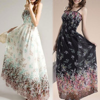 New Women Bohemian Maxi Casual Beach Sundress Chiffon Strap Adjusted Long Dress = 1928344644