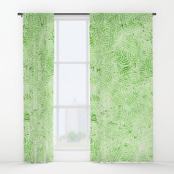 Greeney and white swirls doodles Window Curtains by Savousepate
