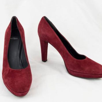 Stuart Weitzman Shoes 10 M Red Suede Leather 4 in Heels Pumps  EU 40.5