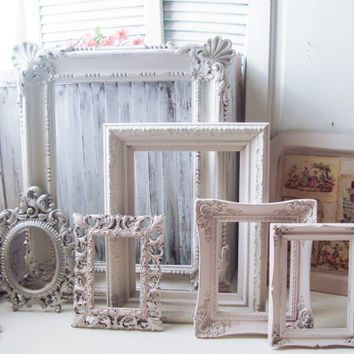 Cottage White and Barely Blush Open Frame Set, Vintage Ornate Frames in Silver and Pink and Off Antique White, Shabby Chic Frames, Nursery
