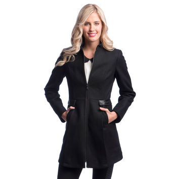 Laundry By Design Center Front Zip Wool Coat with Stand Collar | Overstock.com Shopping - The Best Deals on Coats