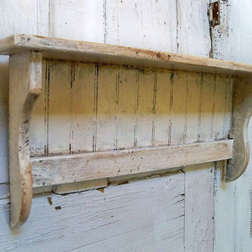 Handmade white distressed recycled wood shelf farmhouse shabby wall decor Anita Spero