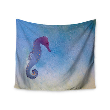 "Infinite Spray Art ""Seahorse"" Blue Painting Wall Tapestry"