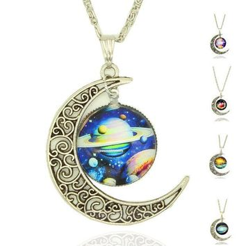 CREYET7 x405  Moon Statement Necklace Glass Galaxy Lovely Collares Necklace&Pendants Fine Jewerly  silver color Jewelry